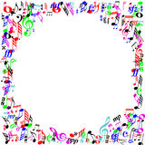 Color music notes page border stock illustration