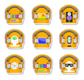 Color music set 9 headphone with gadget . Stock Photo