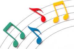 Color Musical Notes. Color Wooden Musical Notes With Shadows Over Music Sheet Royalty Free Stock Photos