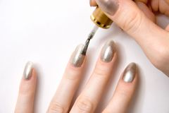 Color nails close view Royalty Free Stock Images