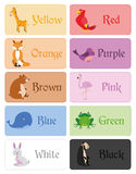 Color names vocabulary in english for primary education Stock Image