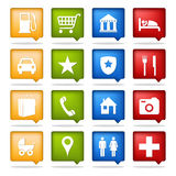 Color navigation icons. Set of 16 color navigation icons Royalty Free Stock Image
