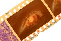 Color Negative Film Frame and Eye Stock Images