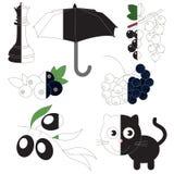 Color negro, el juego grande del niño que se coloreará por ejemplo medio stock de ilustración