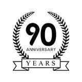 color negro retro de la 90.a del aniversario de los años guirnalda del laurel stock de ilustración
