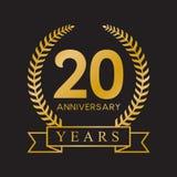 color negro retro de la vigésima del aniversario de los años guirnalda del laurel ilustración del vector