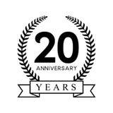 color negro retro de la vigésima del aniversario de los años guirnalda del laurel libre illustration