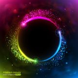 Color neon comets fly in a circle. Light effect and glare. A chaotic vortex of brilliant particles. vector illustration