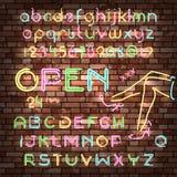 Color neon font set Stock Photos