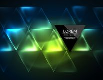 Color neon glowing triangles, abstract background Stock Images