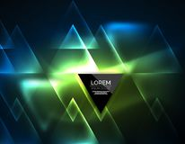Color neon glowing triangles, abstract background Stock Photo