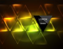 Color neon glowing triangles, abstract background stock illustration