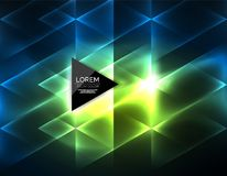 Color neon glowing triangles, abstract background Royalty Free Stock Image