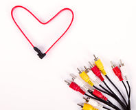 Color network cables  on white background in form of red Stock Photo