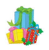 Color New Year's and Christmas gifts. Stock Images