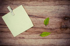 Color note, blank paper, post it. Blank paper on wood borad royalty free stock photography