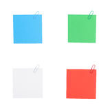 4 Color note paper with clip isolated on white background Stock Images