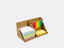 Color note paper and post it in paper box set Stock Photos