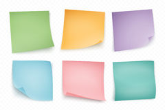 Color note stickers. Four color sheets for notes on white backgr Stock Photo