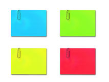 Color Notes With Paper Clip Stock Image