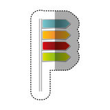 color notices of tipped routes icon vector illustration