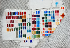 Color and nuances pallete. Testing paint colors and nuances on a wall at a construction site royalty free stock images