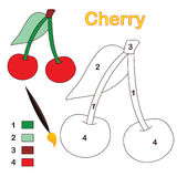Color by number: cherry. Color by number game with cherry fruit. Eps file available Stock Photos