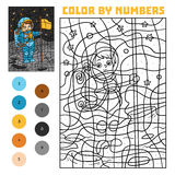 Color by number for children, Astronaut. Color by number, education game for children, Astronaut Royalty Free Stock Photography
