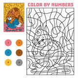 Color by number for children, Cat. Color by number, education game for children, Cat Stock Photography