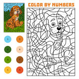 Color by number for children, Dog. Color by number, education game for children, Dog Stock Photos