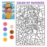 Color by number for children, Father and daughter. Color by number, education game for children, Father and daughter vector illustration