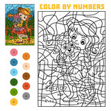 Color by number for children, Girl and sheep Royalty Free Stock Image