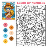 Color by number for children, Girl in sunglasses Royalty Free Stock Photography