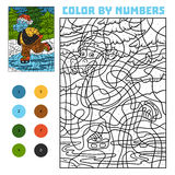 Color by number for children, Hippo on skates stock illustration