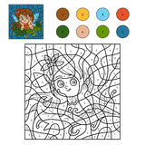 Color by number for children (little fairy) Stock Image