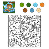 Color by number for children with monkey Stock Photos