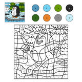 Color by number for children (penguin and background) Royalty Free Stock Photography