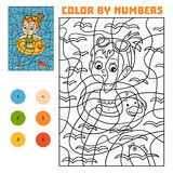Color by number for children, Swimming girl. Color by number, education game for children, Swimming girl Royalty Free Stock Photography