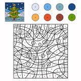 Color by number (christmas tree) Royalty Free Stock Images