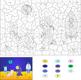 Color by number educational game for kids. Astronaut and aliens. Put plants on the moon. Vector illustration for schoolchild and preschool Royalty Free Stock Image