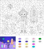 Color by number educational game for kids. Astronaut, aliens and Royalty Free Stock Photos