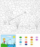 Color by number educational game for kids. Boy fisherman with fi. Shing rod on the lake. Vector illustration for schoolchild and preschool Stock Image