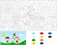 Color by number educational game for kids. A boy and a girl play Royalty Free Stock Images