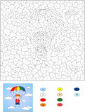 Color by number educational game for kids.  Stock Photos