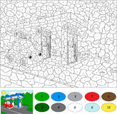 Color by number educational game for kids.  Royalty Free Stock Photos