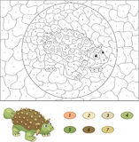 Color by number educational game for kids. Cartoon ankylosaurus. Royalty Free Stock Photos