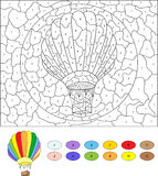 Color by number educational game for kids. Cartoon balloon.  Stock Photography