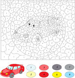 Color by number educational game for kids. Cartoon car.  Stock Photography