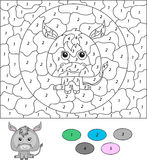 Color by number educational game for kids. Cartoon donkey.  Stock Images