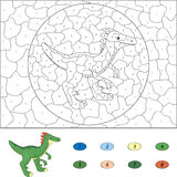 Color by number educational game for kids. Cartoon guanlong. Vec Royalty Free Stock Images